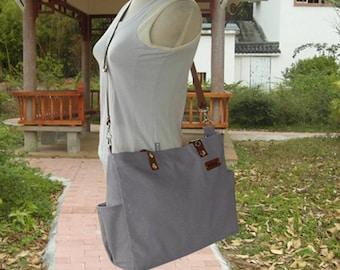 Gray canvas tote messenger bag women shoulder bag leather strap crossbody laptop bag diaper bag travel bag gift for her