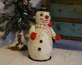 Snowman - Paper Mache Candy Container