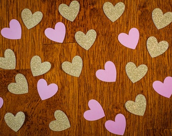 Glitter Gold and Pink Heart Confetti