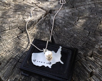 Long Distance Love, Personalized United States silver aluminum charm necklace with pearl on bead chain