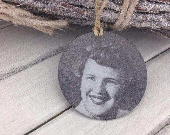 "Your Photo Ornament - 2"" Circle - Personalized Christmas Ornaments - Handwritten, or Custom Text - Engraved Remembrance Gifts For The Family"