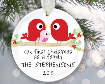 Our First Christmas as a Family Personalized Christmas Ornament Baby Shower Gift Love Birds Christmas Ornament Custom New Family Gift OR343