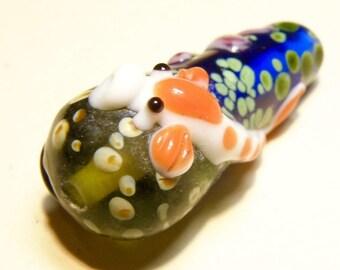 One (1) Teardrop-Shaped Focal Lampwork Bead with Koi Goldfish Design - Lot UU