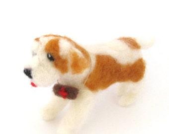 Needle felted Saint Bernard dog, miniature dog, pet sculpture, St Bernard