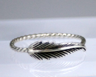 Sterling silver feather ring, silver ring, feather ring, statement ring, bridesmaid gift, promise ring, eco friendly, women, friendship ring