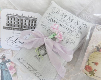 Jane Austen Emma and Pride and Prejudice Lavender Sachets Gift Set of 2 with Gift Box and tag, FREE USA SHIPPING, Jane Austen Literary Gift
