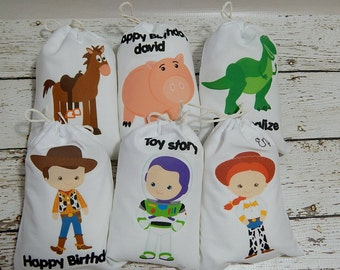 """Birthday Party Favor Bags Toy Story Characters for Treat's or gift's Can be personalized 5"""" X 7"""" or 6"""" X 8"""" Qty 6"""