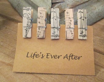 Set of Mini Wooden Musical Clothespins, Wooden Photo Clips, Decorated Wooden Clothespins, Mini Clothespins, Office Supplies, Craft Supplies