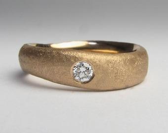 Solid 18ct Rose Gold Diamond Ring, Low Profile 3mm Diamond, Minimalist Mens Engagement Ring, Flush Diamond Mens Wedding Ring, Simple Matte