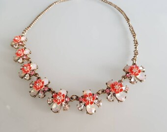 Pink Statement Necklace Chunky Necklace Crystal Vintage Bib Necklace 1930s Necklace 1920S  Gatsby Necklace Flower Necklace Pink Necklace