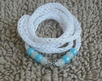 White-Knitted I-cord Wrap Bracelet/necklace 2 in 1 with Blue/White Beads and Free Gifts B3-Free Shipping.