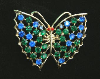 "Vintage Vtg Multi Color Rhinestone Butterfly Pin Brooch - 2"" H x 2 1/4"" W"