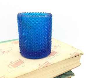 Vintage Glass Votive, Diamond Hobnail, Turquoise Blue, Beach House Decor, Outdoor Entertaining