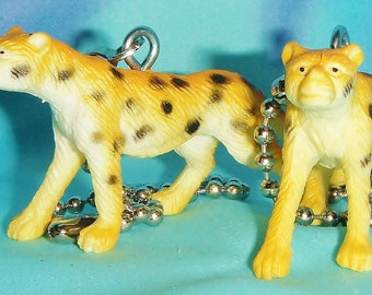 Set of Two ~ Leopard Wild Cat Zoo Animals ~ Ceiling Fan Pull Chains