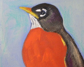 Spring Robin blank greeting card