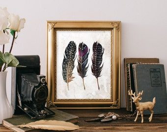 Printable wall art decor, Feather printable, Boho decor, Teen room decor, feather art, Boho chic decor, Home decor wall art, Digital BD-678