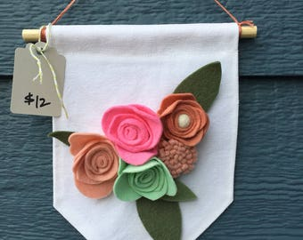 Felt flower canvas banner