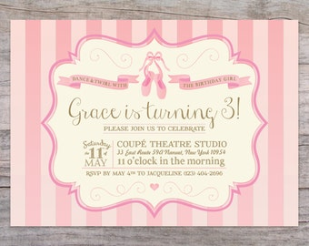 Prima Ballerina Ballet Birthday Invitation with Free Shipping or Personalized Printable