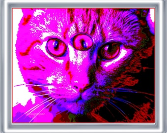 Third Eye Cat Art Print 8 x 10 – Cosmic Visionary Artwork -  Cat with Three Eyes - Psychedelic Surreal - Pop Art - Bright Colors