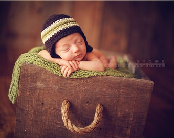 0-3 months brown and green striped beanie