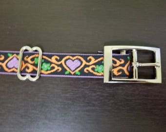 "1"" Purple Heart Jacquard Dog Collar"