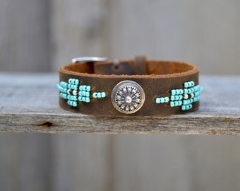 Handmade Distressed Leather Seed Bead Bracelet . Handmade. Sterling . South Western . Bracelet