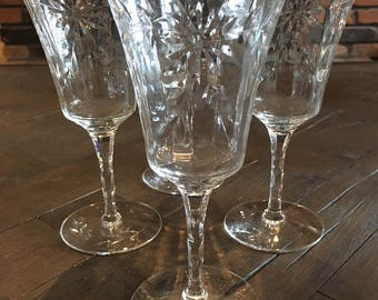 Antique Tiffan-Franciscan Cut Crystal Optic (4) Water Goblets Daisies Dots & Leaves Swag Floral Beveled Stem Pattern# 1504-1
