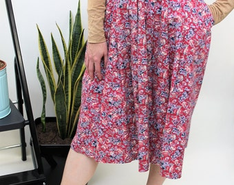 Red Floral Midi Skirt with Pockets Size UK 8, US 4, EU 36