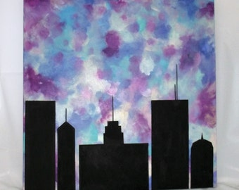 Abstract Wall Art Skyline Wall Hanging City Scene Building Silhouette Plum Silver Teal Aqua Purple Blue Modern 24 x 24 Office decor square