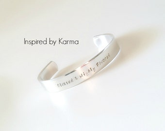 Personalized Handstamped Bracelet, Inspirational quote jewelry
