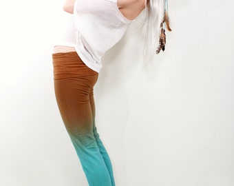 These unique Leggings will make a great gift for a girlfriend, wife, or mother: prenatal yoga pants with a wide fold over waist band