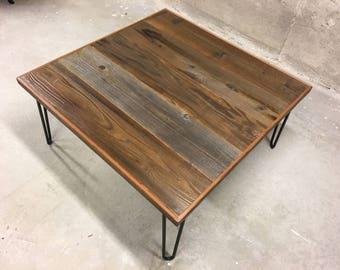 Reclaimed wood coffee table hairpin