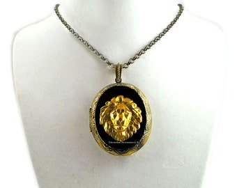 Golden Lion Pill Box Necklace Inlaid in Hand Painted Glossy Black Enamel Large Locket Neo Classic Leo with Personalized and Color Options