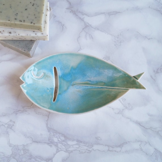 FISH soap dish, aqua turquoise