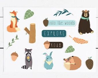 In The Woods Sticker Pack, 16 Aufkleber, Kalender, gute alte Schneckenpost, Zeitschrift, Midori, scrapbooking