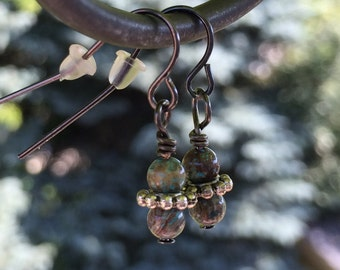 Earrings, Natural Stone and Gunmetal, Blue sky jasper