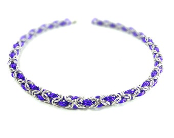 Purple And Silver Byzantine Weave Chainmaille Necklace Handcrafted