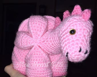 Pink Dinosaur Puzzle Ball Amigurumi Ready to Ship or Choose Your Colors