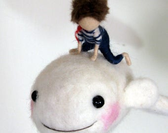 Children Needle felted mobile  White whale  Waldorf insepired Nursery decor Home decoration