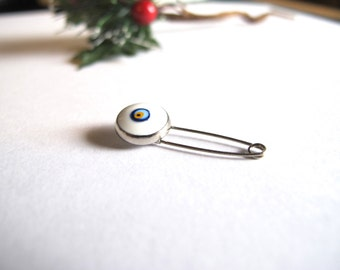White Silver Tone Evil eye Pin