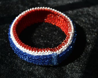 Red, White, and Blue cuff bracelet