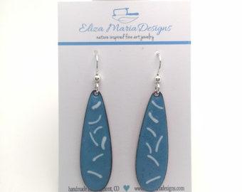 Blue Earrings, Blue & White Enamel Earrings, Handmade Jewelry, Glass Earrings, Blue Glass, Dangle Earrings, Boho Earrings