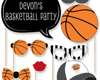20 Nothin' But Net - Basketball Photo Booth Props - Basketball Photobooth Kit with Custom Talk Bubbles for Baby Shower or Birthday Party