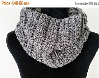 10.00 OFF Infinity Scarf - Scottish Inspired Scarf, Cowl Scarf, Claire Infinity Scarf, Scarves for Women, Crochet Handmade, Charcoal Scarf,