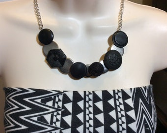 Industrial Textured button necklace