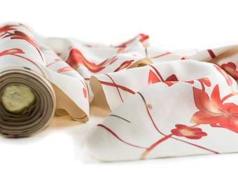 Vintage Kimono Silk - 1M, Leaves and Sakura and branches, Japanese kimono silk