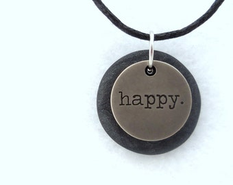 Happy Necklace, Word Pendant, Polymer Clay Inspirational Jewelry