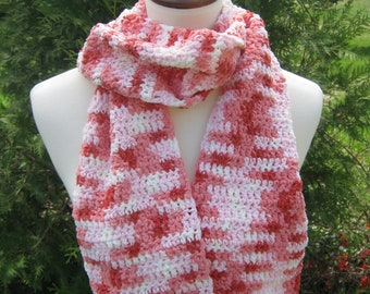 Crochet Scarf; Handmade; Multicolor; Pink; White