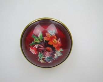 Antique Victorian Red Bridle Button Brooch. Flower Bouquet Large Glass Dome Crystal Paperweight Brooch.  Horse Rosette. Equestrian Jewelry