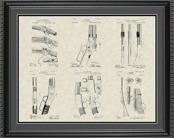 Winchester Firearms Patent Art Wall Hanging   Hunter Marksman Shooter Gift PWINC2024
